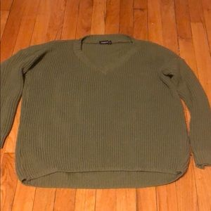 EUC Military Green Booboo V-neck Sweater